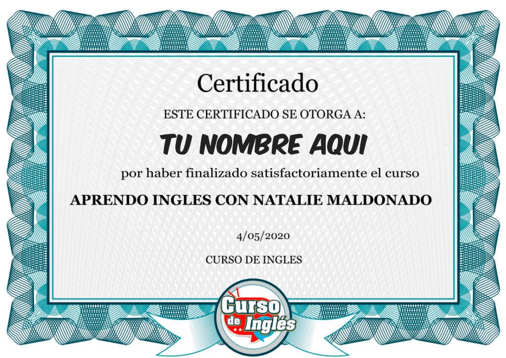 Certificado Participacion Curso Ingles